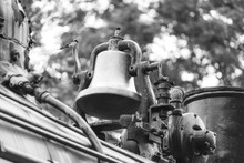 Vintage Bell On An Old Fashioned Steam Locomative Train
