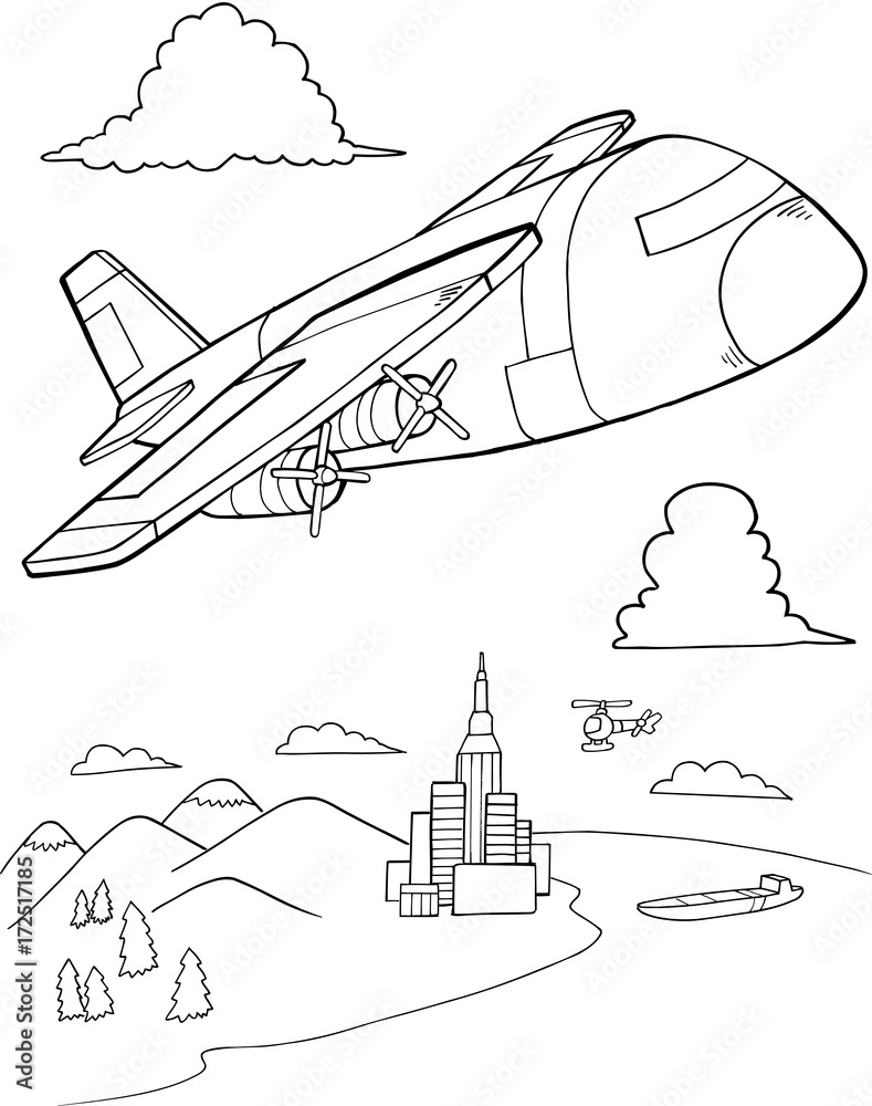 Printed Kitchen Splashbacks Cute Aircraft Vector Illustration Art