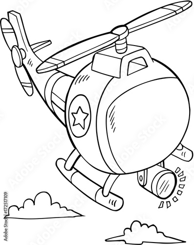 Wall Murals Cartoon draw Cute Police Rescue Helicopter Vector Illustration Art