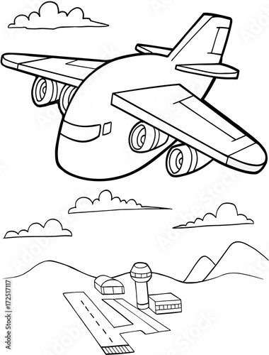 Wall Murals Cartoon draw Cute Aircraft Vector Illustration Art