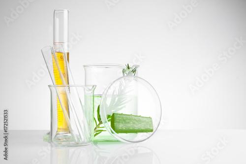Fotografia  herbal medicine natural organic and scientific glassware