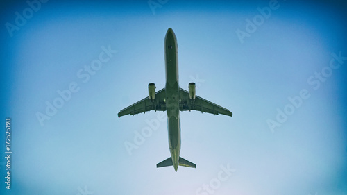 Tuinposter Helicopter passenger plane taking off composition photography