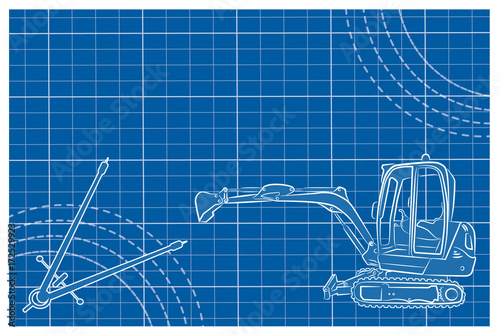 Excavator line art vector illustration on a blueprint background excavator line art vector illustration on a blueprint background compass drawing tool and decorative lines malvernweather Gallery