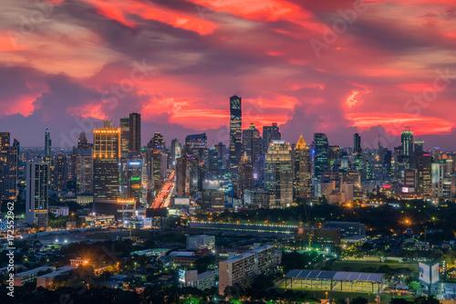 In de dag Aziatische Plekken Bangkok city skyline with beautiful sunset sky,The Capital.Thailand