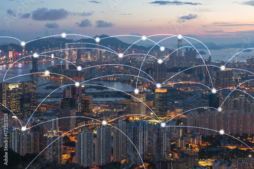 Photo  Hong kong cityscape with connection network technology concept