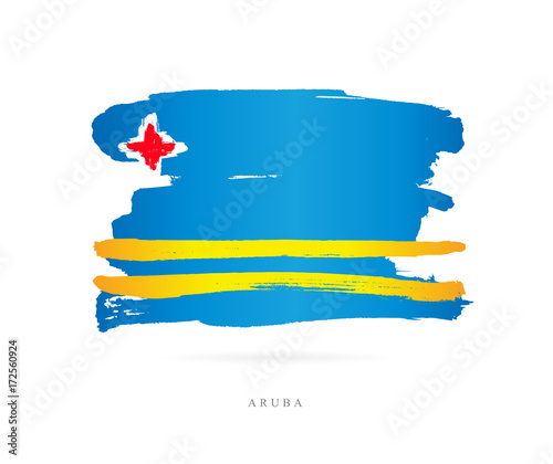 Flag of Aruba. Abstract concept Wallpaper Mural