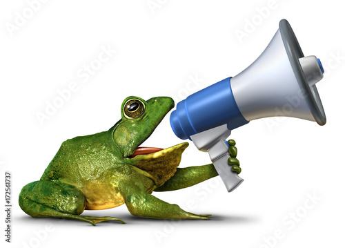 Leinwand Poster Frog Announcer