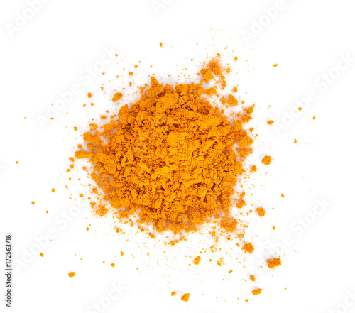 Poster Condiments Turmeric (Curcuma) powder isolated on white background. Curry powder.