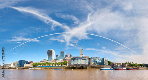 Panoramic image of North Bank of river Thames on a bright sunny day Canvas Print