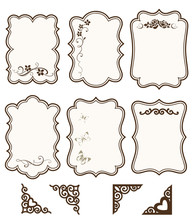 Vector Collection Of Decorative Scrapbook Elements For Your Design. Vector Floral Silhouette