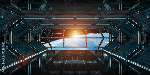 Deurstickers Nasa Spaceship interior with view on Earth 3D rendering elements of this image furnished by NASA
