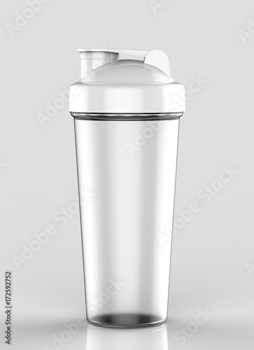 blank frosted plastic shaker bottle for mock up and template design 3d render illustration