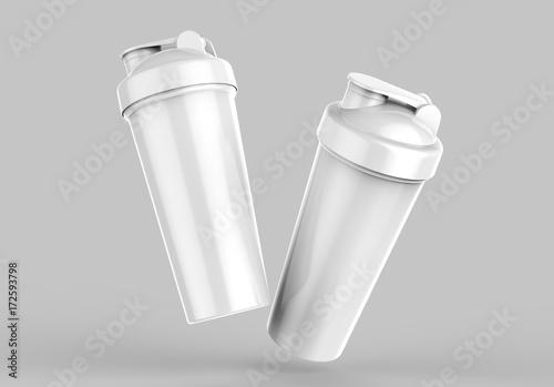 Photo Blank white plastic shaker bottle for mock up and template design