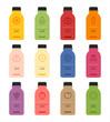 healthy juice bottle vector flat design illustration set