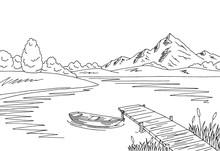 Lake Bridge Graphic Black Whit...