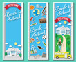Three vertical Back to school vector frames and banners with doodle stationery and school building in blue background. Paper cut shapes design illustration. Vector paper art school banners