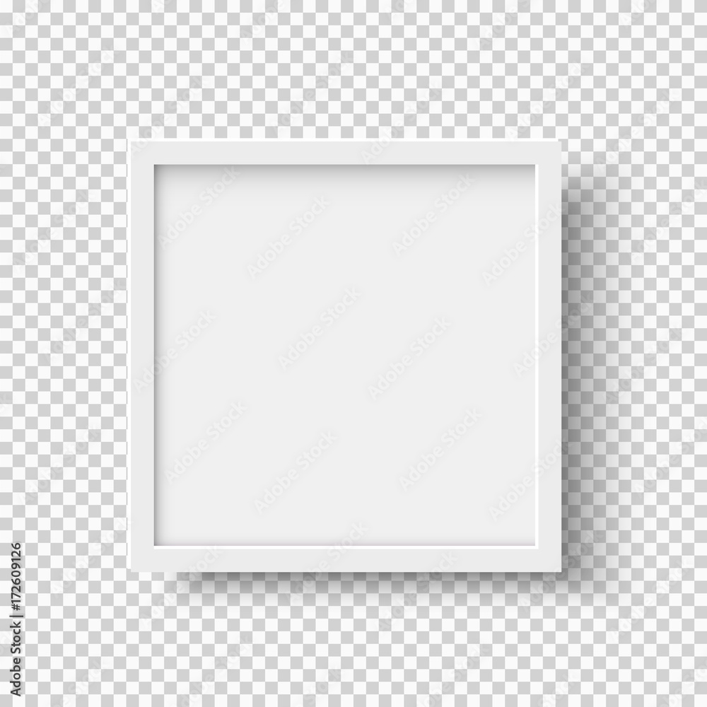 Fototapeta White realistic square empty picture frame on transparent background