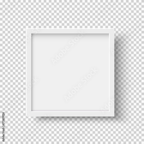 Fotografía White realistic square empty picture frame on transparent background