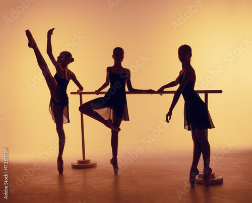 Photo Stands Vintage Poster Composition from silhouettes of three young dancers in ballet poses on a orange background.