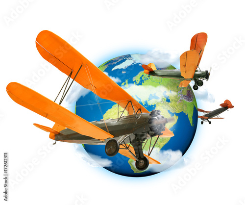 Biplanes flying around the planet Earth Wallpaper Mural