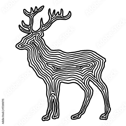 ilustracja-jelenia-w-czarnej-linii