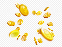 Gold Coin Splash Bingo Jackpot Win Casino Poker Coins Vector 3D Background
