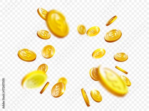 Fototapeta Gold coin splash bingo jackpot win casino poker coins vector 3D background obraz