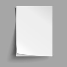 Vector White Sheets Of Paper. Realistic Empty Paper Note Templates Of A4 Format With Soft Shadows Isolated On Grey Background.