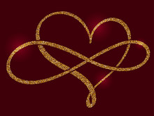 Golden Calligraphic Heart And ...