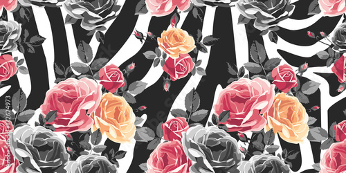 Roses seamless pattern on zebra background. Animal abstract print. Vector illustration