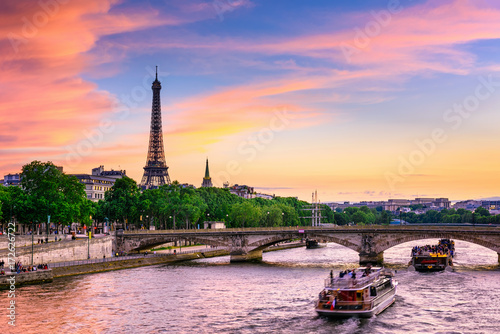 Sunset view of Eiffel tower and Seine river in Paris, France
