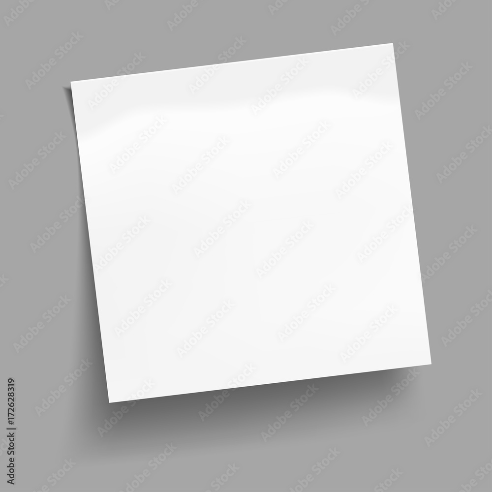 Fototapeta White sheet of note paper isolated on gray background. Sticky note. Vector illustration.