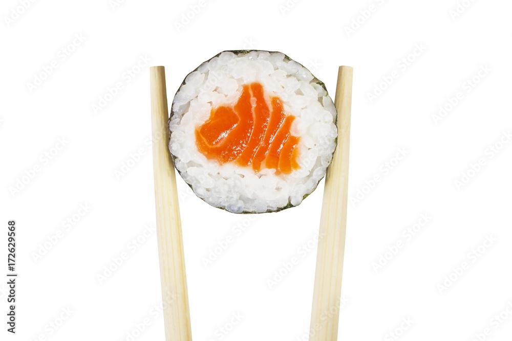 Fototapety, obrazy: Maki roll isolated on white