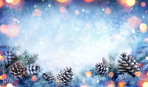 Christmas Card - Snowy Fir Branch With Pine Cones And Lights