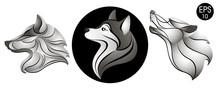 Dogs Set. Dog Head Logo. New Year's Symbol. Stock Vector Illustration