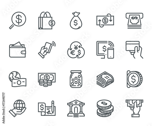 Money Icons,  Monoline concept The icons were created on a 48x48 pixel aligned, perfect grid providing a clean and crisp appearance Canvas-taulu
