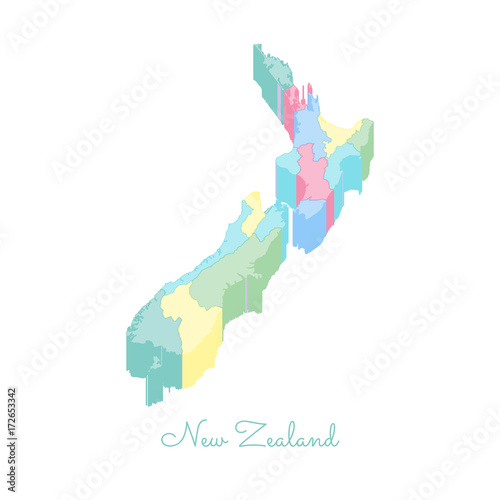 New Zealand Regions Map.New Zealand Region Map Colorful Isometric Top View Detailed Map Of