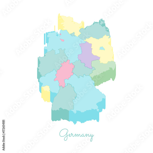 Map Of Germany With Regions.Germany Region Map Colorful Isometric Top View Detailed Map Of