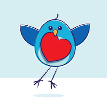 Flying Bluebird With Red Heart