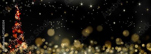 arbre de Noël abstrait étincelant dans la nuit et sous les étoiles