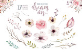 Fototapeta Kwiaty - Set of watercolor boho floral foliage. Watercolour bohemian natural frame: leaves, feathers, flowers, Isolated on white background. Artistic decoration illustration.
