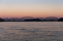 Sunset At Kentucky & Indiana Terminal Railroad Bridge - Ohio River, Louisville, Kentucky & Jeffersonville, Indiana