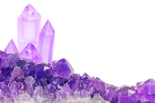 Lilac Amethyst Small And Large Crystals On White