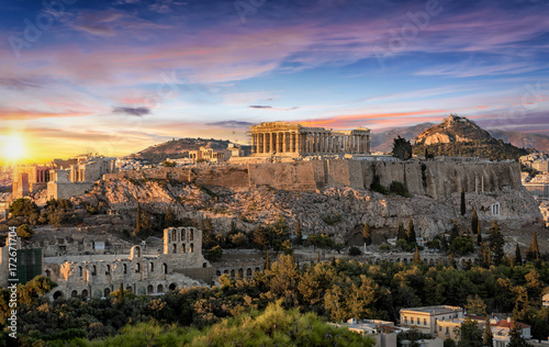 In de dag Athene Die Akropolis von Athen, Griechenland, bei Sonnenuntergang
