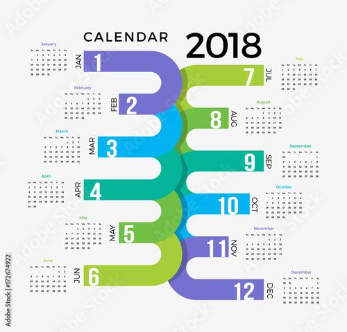 2018 Calendar Template Colorful Creative Happy New Year Calendar