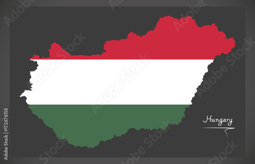 Photo Hungary map with Hungarian national flag illustration