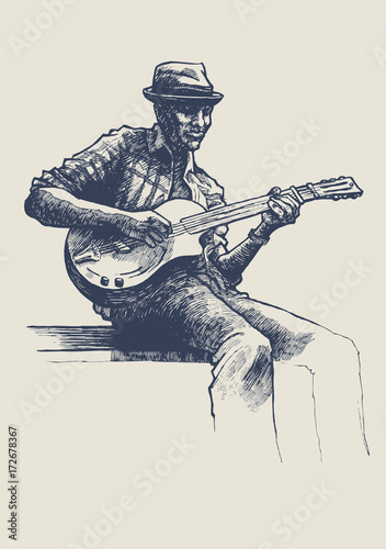 Jazz and blues musician. drawing style Canvas Print