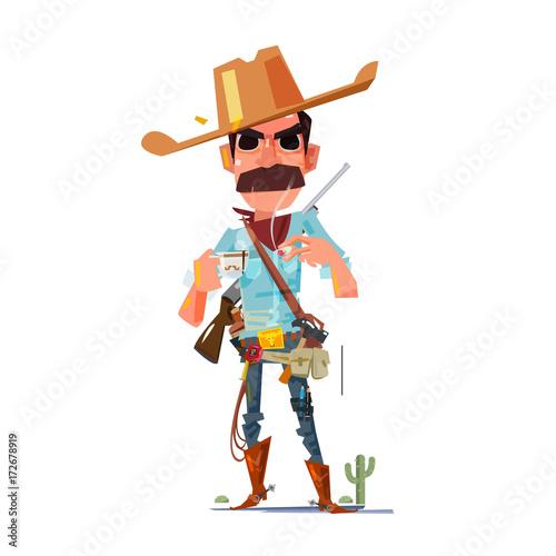 Türaufkleber Wilder Westen cowboy character with coffee - vector illustration