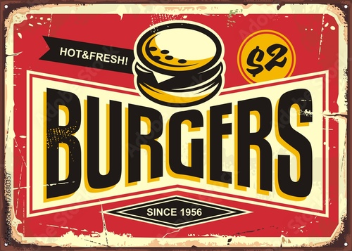 Burgers vintage tin sign with creative typo and burger icon Canvas Print