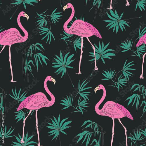 elegancki-egzotyczny-wzor-z-wspaniale-rozowe-ptaki-flamingow-i-zielonych-lisci-palmowych-recznie-rysowane-na-ciemnym-tle-ilustracja-wektorowa-na-tapete-druk-tekstylny-papier-pakowy